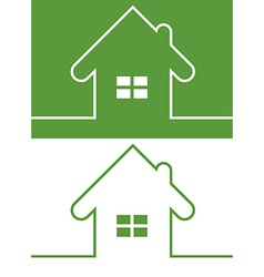Green House Icon with Window Reversed colors vector image
