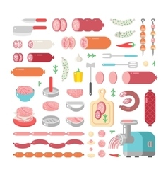 Assortment variety of processed cold meat products vector