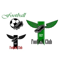 Black and green football or soccer emblems vector
