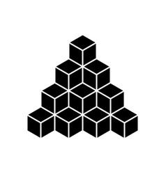 black pyramid of cubes flat vector image vector image
