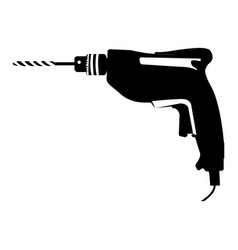 black silhouette with drill tool vector image