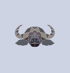 buffalo head geometric flat design style vector image vector image