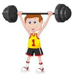 Cartoon man lifting barbell vector image