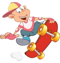 Cute little boy skateboarding vector