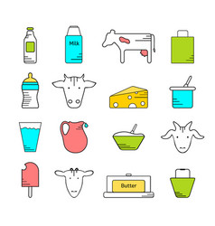 Dairy icons colored set vector