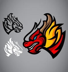 dragon red head emblem logo vector image vector image