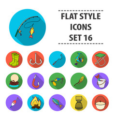 fishing set icons in flat style big collection of vector image