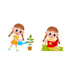 Flat cartoon kid doing routine activity set vector