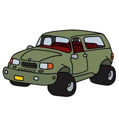 Funny green terrain car vector image