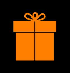 Gift sign orange icon on black background old vector