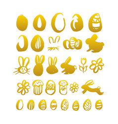 Gold hand drawn easter vector