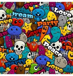 Graffiti characters seamless pattern vector
