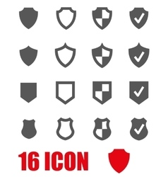 Grey shield icon set vector