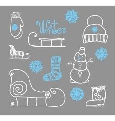 Hand drawing winter holiday set vector