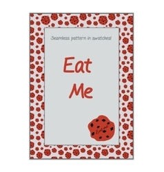 Invitation postcard eat me cookie from wonderland vector