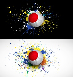 japan flag with soccer ball dash on colorful vector image vector image