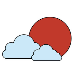 Japanese sun and clouds vector