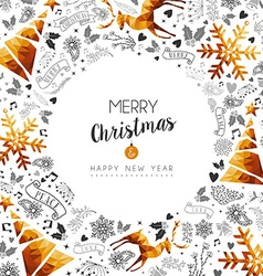 Merry Christmas and New Year gold frame decoration vector image vector image