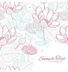 Modern line art florals frame corner vector