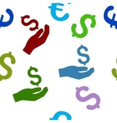 Money Donation Flat Seamless Pattern vector image