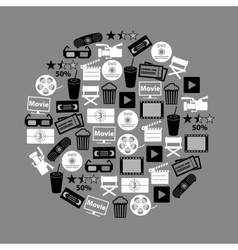 movie and cinema icons set in circle eps10 vector image vector image