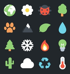 Nature Flat Icons vector image vector image