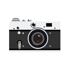 Old photo camera for logotype or icon vector image