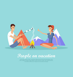 People on vacation flat design web banner vector