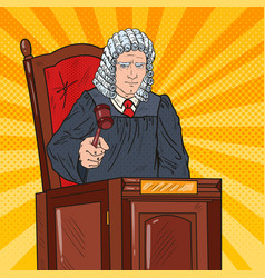 Pop art judge in courtroom striking the gavel vector