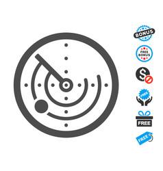 Radar flat icon with free bonus elements vector