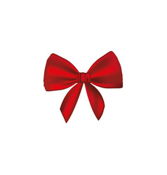 Realistic cute red ribbon with bow vector