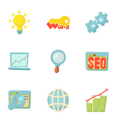 seo promotion icons set cartoon style vector image vector image
