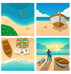 Set of four pictures with couple relaxing on sunny vector