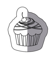 Silhouette muffin with chocolate and cherry vector