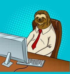 sloth animal office worker pop art vector image