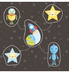 Space objects in cartoon style set vector