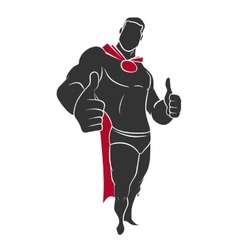 Superhero raised his finger up vector image vector image