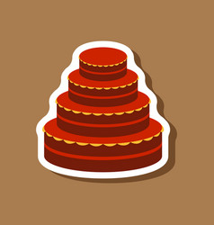 Sweet dessert in paper sticker wedding cake vector