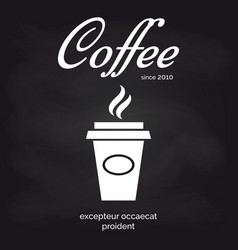 Take away coffee cup chalkboard poster vector