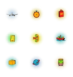 Transportation icons set pop-art style vector