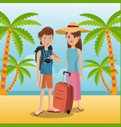 Travelers vacation suitcase palm sand beach vector