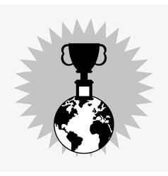 Trophy cup on top of the world icon vector