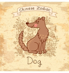 Vintage card with chinese zodiac - dog vector