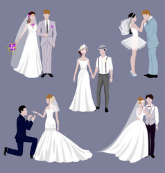 Wedding couple indoors is hugging each other vector