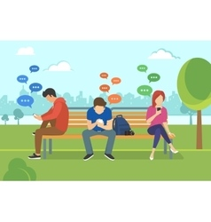 Young people sitting in the park and texting vector image vector image