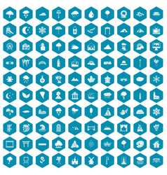 100 scenery icons sapphirine violet vector image vector image