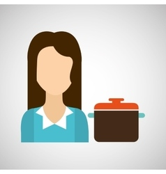 Girl with cooking pot icon vector