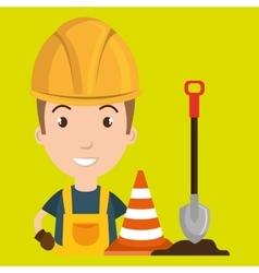 Man shovel warning construction vector