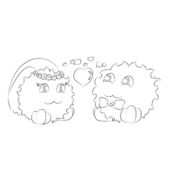 Cute monsters bride and groom hearts coloring book vector