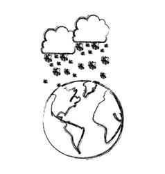 monochrome blurred contour with cumulus of clouds vector image